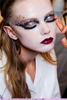 sequin eye and dark lip.