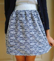One Hour High Waist Lace Lay Over Skirt - In just under 60 minutes you can complete this one seam lace lay over skirt. By simply sewing the lace to the fabric before creating the skirt, this project is finished in just a few easy steps. Then, step out in your new stylish skirt!