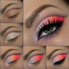 eye makeup neon, gorgeous neon, natural colors, summer makeup, summer fun, accent colors, neon eye, eye makeup tutorials, rave makeup