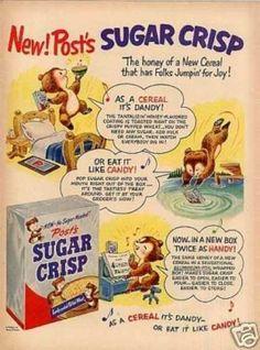 anuncio vintag, bears, candies, vintag advertis, crisp cereal