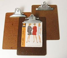 vintage wood clipboards - industrial wall display - set of 3 - 9 x 12 - $22.00