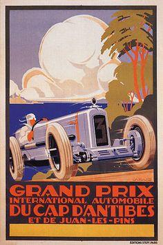 GRAND PRIX ANTIBES CAR RACE JUAN LES PINS FRENCH VINTAGE POSTER REPRO LARGE | eBay