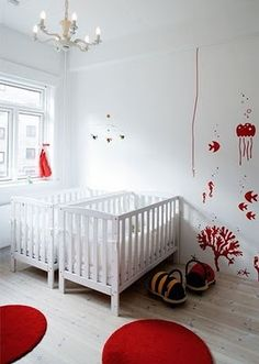 Twin nursery in two colors - simple, gender neutral, and adorable!