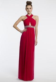 Camille La Vie Mesh Beaded Halter Prom Dress