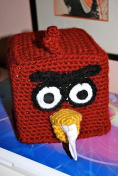 LOL! Angry Birds, fashioned in crochet, as a tissue box cover. Free pattern found at Favecrafts, from Donesia for the crochet girl.