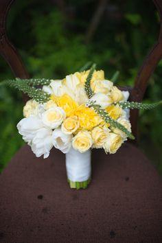 yellow spring bouquet, photo by Rach Lea Photography http://ruffledblog.com/the-notwedding-savannah #flowers #weddingbouquet