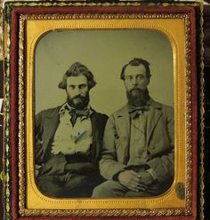 Pvt. J. Straw from Calloway County, MO. He is on the left with unidentified friend. It appears like he has a pistol butt under the left flap of his jacket. He was wounded at the Battle of Wilson's Creek on Aug. 10, 1861.