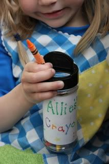 Travel crayon holder from empty spice or parmesan cheese container. Kids could even put them in their car seat cup holders. And the name on it is perfect! :)