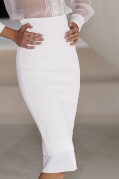 White pencil skirt with see through blouse