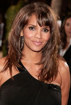 Long Layered Haircuts With Bangs   Halle Berry Layered Long Hairstyle with Bangs   Hairstyles Weekly