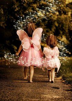 Little girl fairies in pink