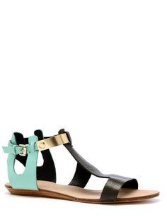 Bardot Sandals Taupe/aqua/gold by Rebecca Minkoff
