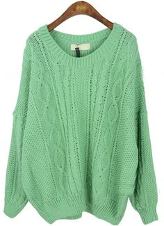 Green Round Neck Long Sleeve Batwing Loose Sweater