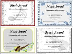 MUSIC AWARD CERTIFICATES  41 **editable** certificates making it possible for you to add your students names!   There are FOUR different designs with FIVE awards in each.          $