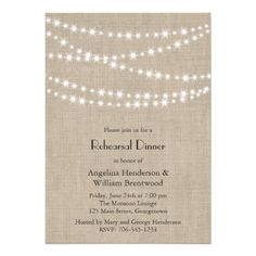 burlap rehearsal dinner invitation
