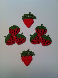 Vintage Strawberry Appliques/ by TheDearestDollhouse on Etsy, $8.00