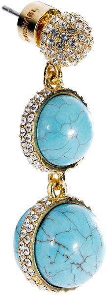 Michael Kors  Turquoise Double Drop Earring with Pave Detail | The House of Beccaria#