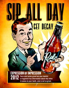 Sip all day, get decay.   #dental #decay #dentist #hygiene #brush #tooth #teeth #cola
