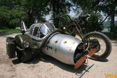 Now that's a side car. motorcycles, airplanes, muscle cars, sidecar, chopper, angl, side car, reading lists, rat bikes