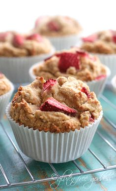 Whole grain gluten-free muffins with strawberries.