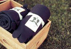 warm favor ideas for winter weddings | cozy blankets
