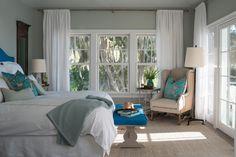 @mondavihome: Master Bedroom with Benjamin Moore's Aura, Matte, Gray Wisp 1570 (walls) and Aura, Matte, Gray Cashmere 2138-60 (ceiling)