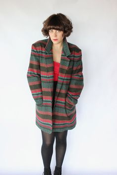 Vintage 90s Red & Green Patterned Wool Winter Blazer // Striped Holiday Coat. $56.00, via Etsy. #style #fashion #vintage #vintagestyle #winterstyle #holidaystyle #holiday