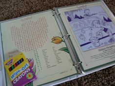 """This is our """"FunStuf"""" binder. The cutouts are from the Friend magazine & laminated.  microfiber cloth for erase      Inside the binder with the special wipe off crayons.    *TIP: for both these items we use our microfiber rags. They seem to wipe the board and laminate pages off better."""