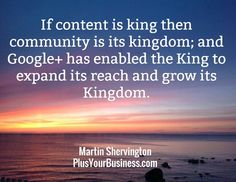 Content is King, Community is the Kingdom! Build Lasting Relationships on Google+ – Adventure in Visibility with Martin Shervington  Watch the Hangout at: http://denisewakeman.com/hoa/build-lasting-relationships-on-google-adventure-in-visibility-with-martin-shervington/