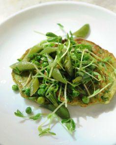 Savory Pea Pancakes with Pea Ragout Recipe