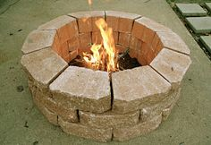 Backyard fire pit made with flower bed stones - no mortar necessary!