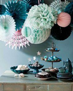 dessert tables, pom poms, color palettes, color schemes, color combos, blue, mint, parti, paper decorations