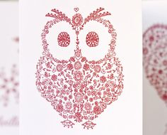Owl silhouette French Holiday cards handmade, Joyeux Noël Bonnes Fêtes