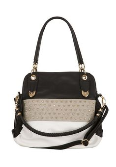 Rhinestone Embellished Black and White Satchel (original price, $39) available at #Maurices