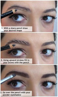 How to fill in your eyebrows - I like this technique. | Beauty Darling
