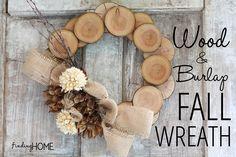 decor, idea, craft, burlap wreath, fall wreaths, autumn wreaths, diy, christma, wood slice