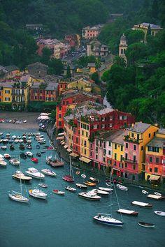 View of Portofino from Castello Brown, Italy