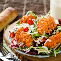Crispy Buffalo Chicken Salad with Light Greek Yogurt Bleu Cheese Dressing is a fresh and simple dinner salad loaded with bold flavors