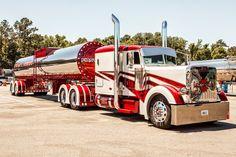 car, big truck, trucks, gear, wheel, big rig, peterbilt truck, candy canes, nice pete