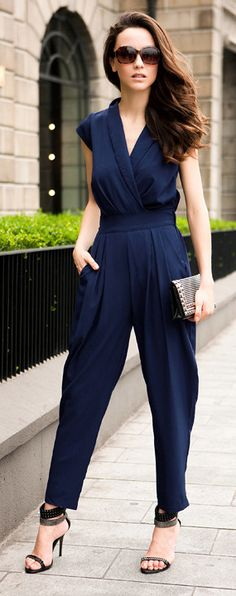 Navy Jumpsuit! Very sophisticated! Want to be business like and fun!! Go with this!