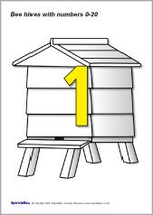 Numbers 0-20 on beehives with counting bees (SB1376) - SparkleBox