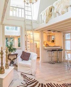 ladder, cabin, home loft, dream homes, loft hous, dream hous, loft spaces, guest houses, beautiful cottage interiors