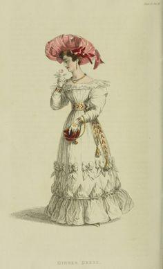 Dinner dress, 1828 UK, Ackermann's Repository