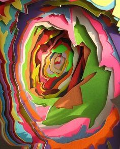 paper rose, 3d paper, color, art, paper cutout