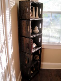 DIY wood crate book shelf - would look nice in the bedroom or living room. would be good for movies