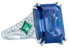Art Deco-inspired ring with an emerald-cut tanzanite, diamonds, tsavorites and platinum. From The Great Gatsby collection by Tiffany & Co., inspired by Baz Luhrmann's film in collaboration with Catherine Martin.  Via The Jewellery Editor.
