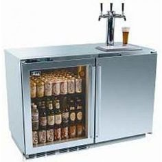 Combination glass-front bar refrigerator and kegerator...
