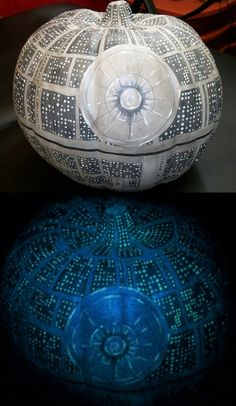 Glow in the dark Death Star pumpkin!!! cool but i don't think i could make it