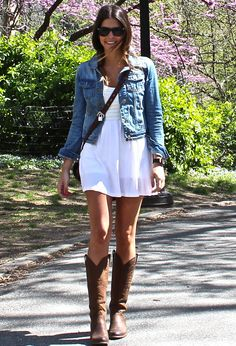 .White summer dress, lightweight denim jacket, pair with bright wedges for summer or boots for fall