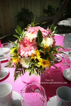 Fun pink wedding table setting from Rosabelle Manor